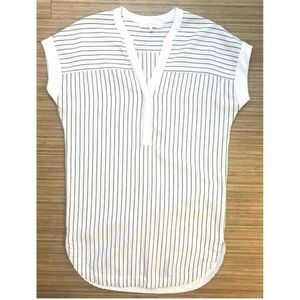 Astr Oversized Loose White Striped Tunic Top Dress